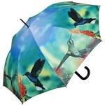 Doppler Dámský holový vystřelovací deštník ART Kolibříci 74157C
