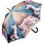 Doppler Dámský holový vystřelovací deštník ART Kočka ve slámě 740598