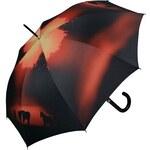 Doppler Dámský holový vystřelovací deštník ART Koně - večerní nálada 740599
