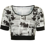 Topshop **Black and White Printed Crop Tee by Rare