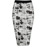 Topshop **Black and White Printed Bodycon Skirt by Rare
