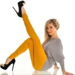 Fashion Sexy skinny žluté kalhoty (38)