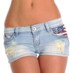 Fashion Trendy světle modré džínové kraťasy - USA (XS)