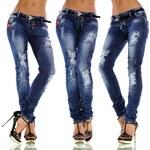 Fashion Trendy tmavě modré džíny s páskem (S)