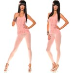 Fashion Trendy světle růžové legíny s tygrem (UNI)