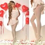 Fashion Trendy béžové stahovací punčocháče s nýtky (UNI)