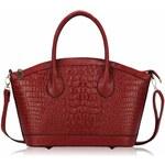 LS fashion Luxusní dámská červená krokodýlí kabelka
