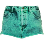 Topshop MOTO Mint Acid Wash Denim Hotpants