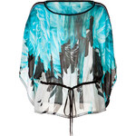 Roberto Cavalli Silk Feather Print Top