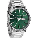 Topshop **Nixon Sentry S Stainless Steel Green Sunray Dial Watch