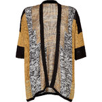 Etro Cotton Blend Open Knit Cardigan in Yellow/Black/White