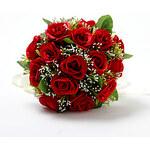 LightInTheBox Red Satin / Cotton Rose Round Wedding Bridal Bouquet