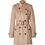 Burberry London Wool-Cashmere Mid-Length Kensington Trench Coat in Honey