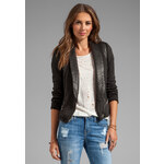 IRO Ashby Leather Trim Jacket in Black