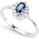 Diamantový prsten se Safírem Au585 De la Sagesse