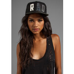 This is a Love Song Mesh and Leather Rad Snap Back in Black