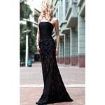 Dorisqueen Černé šaty z hedvábného saténu a krajky Zuhair Murad
