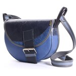 Freshman Mini E kožená kabelka modrá