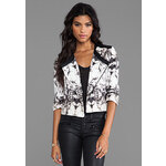 krisa Printed Canvas Little Jacket in White