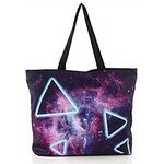 LightInTheBox Women's Casual Galaxy Triangle Printed Canvas Shopping Tote Bags