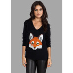 Wildfox Couture Fox Face Sequin Sweater in Black
