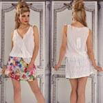 Fashion Bílé letní šaty s krajkovou sukní