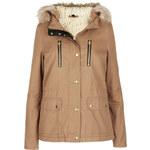 Topshop Fur Trim Short Parka Jacket
