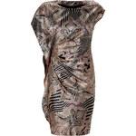 Etro Black and Blush Drape Wool and Sill Blend Dress