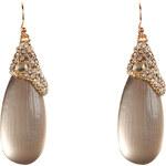 Alexis Bittar Warm Grey/Gold-Toned Modulor Encrusted Teardrop Earrings