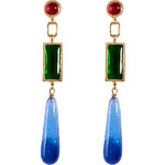 Gripoix Gold-Plated Retro Earrings with Colored Glass Stones