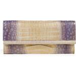 Nancy Gonzalez Violet/Gold Crocodile Fold-Over Clutch