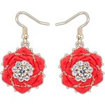 LightInTheBox Women's European and America Gorgeous Rhinestone Resin Rose Flower Alloy Hooked Drop Earrings (More Colors) (1 Pair)