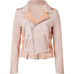 Maje Leather Biker Jacket in Rose
