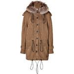 Burberry Brit Wool Blend Multi Gauge Parka in Pale Ochre Brown