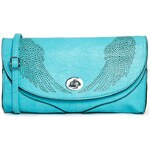 Liquorish Laser Cut Clutch Bag With Wings - Blue