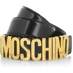 Moschino Logo Belt Gold Black Size 46 Accessoires