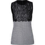 Michael Kors Wool Houndstooth Shell with Lace Overlay