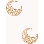 FOREVER21 Cutout Filigree Crescent Hoops