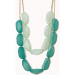 FOREVER21 Layered Faux Gemstone Necklace