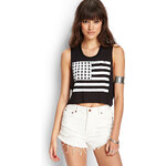 FOREVER21 American Flag Crop Top