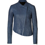 Helmut Lang Cropped Leather Jacket with Asymmetric Hem