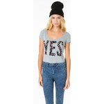 "Tally Weijl Grey ""Yes"" Printed Top"