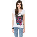 "Tally Weijl White ""Tongue"" Printed Top"