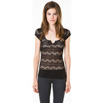 Tally Weijl Black Striped Lace Top