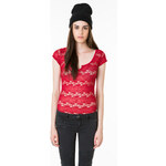 Tally Weijl Red Striped Lace Top
