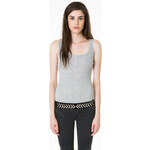 Tally Weijl Grey Basic Lace Vest Top