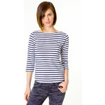 Tally Weijl Blue & White 3/4 Sleeve Top