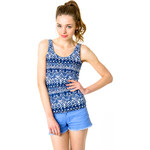Tally Weijl Blue Aztec Print Vest Top