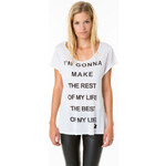 """Tally Weijl White """"Life"""" Printed Top"""