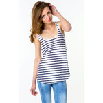 Tally Weijl White & Blue Striped Vest Top